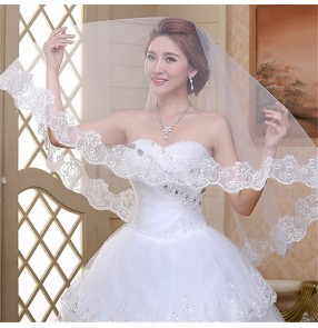 Bridal Wedding veil European and American bridal lace long wedding white lace tulle veil for bride