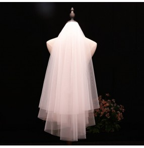 Bridal wedding veil simple two-layer veil for bride wedding party photo shooting white ivory veil  head accessories for bride