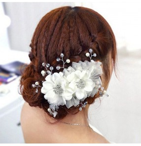 Bridal white headdress wedding party hair accessories host singers stage performance model show photos video shooting hair accessories