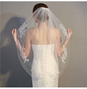 Bridal white veil wedding accessories single layer lace applique with diamond head scarf for women