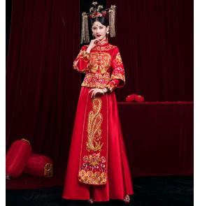 Bride Chinese wedding dress ancient wedding party costume dragon and phoenix gown wedding dress drama cosplay photos shooting cheongsam qipao dress