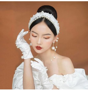 Bride Korean Handmade Hairband Gloves Pearl earrings Tassel French Retro Headdress Photos shooting Model Wedding Accessories