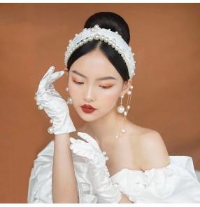 Bride Korean Handmade Hairband Gloves Pearl earrings Tassel French Retro Headdress Photos shooting Model Wedding Accessories