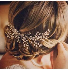 Bride pearl hair comb bridal wedding wedding dress hair accessories Bridal headdress photos shooting headdress for female