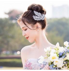 Bride silver headdress Korean rhinestone silver tree leaf hairpin headdress hair comb for wedding party photos shooting Hair accessories
