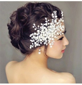 Bride wedding hair accessories bridal head flower handmade crystal beaded hair comb pearl wedding party headdress