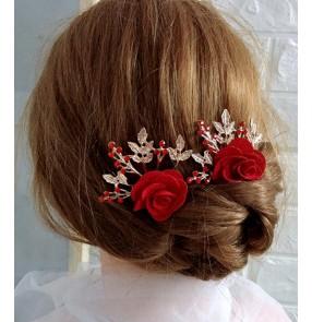 Bride wedding hair accessories Stage performance red rose head flower rhinestone hair comb female hair barrette accessories flower hairpin