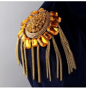 British children adult clothing gemstones epaulet shoulder accessories Fashion Costumes Metal Tassel Epaulettes Brooches for women and men