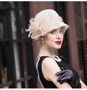 British fashion ladies hemp Linen champagne red black hat fedoras church hats for women European American elegant photos shooting hats Female Top hat