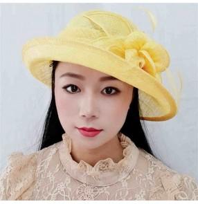 British ivory yellow orange Fedoras church hat for women linen sinamay hat top Linen beach hat sun protection fisherman hat