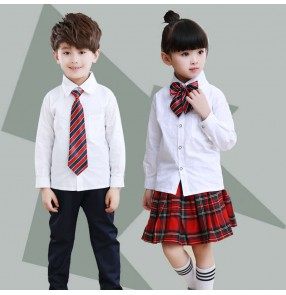 British style Kindergarten School uniforms chorus clothing for elementary middle school students boy girs long-sleeved white shirt plaid skirts Costume