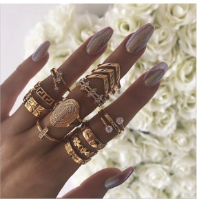 Buddha Statue rings set for women fashion Diamond V-shaped Flower Alloy 13-piece Ring fashion jewelry for female