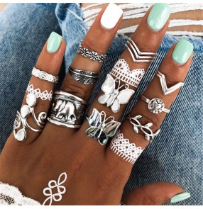 Butterfly elephant rings for women diamond ethnic style 14-piece rings fashion jewelry for female