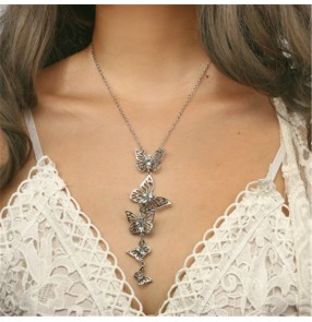 Butterfly necklace fashion personality flying butterfly tassel long fashion clavicle chain sweater chain for women