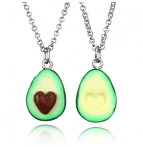 Cartoon three-dimensional avocado necklace  for women heart-shaped oval sweater handmade clay necklace 2pcs one set