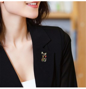 Cat brooch accessories for women and men creative cartoon cat diamond Egyptian cat brooch anti-glare brooch