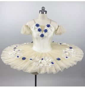 Champagne children professional ballet tutu skirt ballerina ballet dance dresses kids group organization performance stage costumes