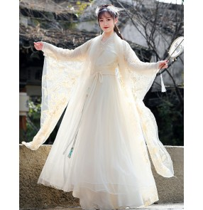 Champagne Hanfu for women Chinese ancient traditional Tang Han Qing Ming costume Lace embroidery fairy princess cosplay dresses photos shooting costume