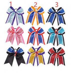 Cheerleading head flower bowknot for girls hair accessories cheerleader headwear shiny competition bow knot flower ball dance children head flower