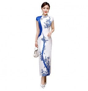 Cheongsam blue with white chinese dress qipao for women Chinese style improved retro catwalk dress long daily cheongsam