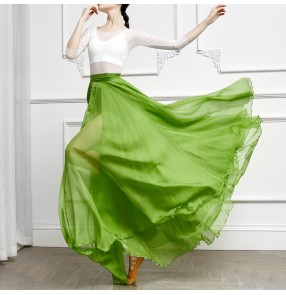 Chifffon ballroom flamenco dance skirts for women modern ballet dance one piece wrap skirts stage performance practice exercises dance skirts hip scarf for lady
