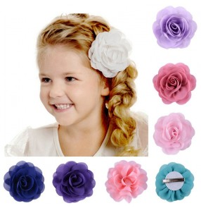 Chiffon rose flowers headdress for kids girls modern latin dance princess dress chorus stage performance head flowers
