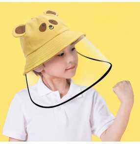 Children anti-spray saliva cartoon fisherman's cap with clear face shield for kids outdoor sun protection protective hat for boy girls