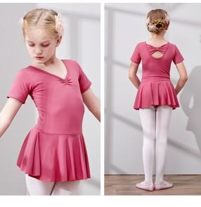 Children ballet dance clothes girls gymnastics practice clothes short-sleeved ballet dance skirt performance examination clothes