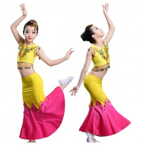 Children belly dance costumes girls rainbow colored mermaid cosplay modern dance tops and skirt dress