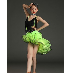Children black green blue yellow Latin dance dresses Tassel diamond blng competition performance costume Girls Latin ruffles fringe Clothing