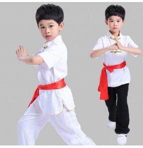 Children black white red martial arts wushu stage performance clothing cotton short sleeves gym kungfu uniforms boy competition combat training clothing