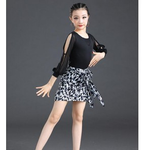 Children Black with leopard Latin dance practice clothes Girls Latin dance competition grade examination training dresses Latin dance performance skirts