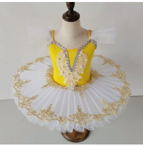 Children black yellow green pink white tutu skirts Girls sling ballet dance dresses Swan Lake Dance Puffy Skirt Children ballerina Dance Performance Costume
