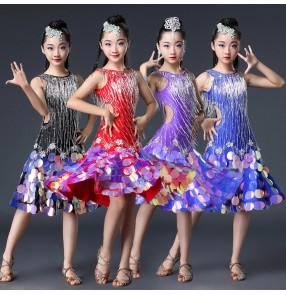 Children bling competition latin dancing dresses girls red black blue samba chacha salsa rhinestones luxury professional dancing skirts dress