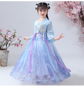 Children blue colored chinese hanfu fairy drama cosplay dress stage performance princess photos shooting robes for kids