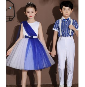Children Blue colored Chorus Costume Chinese Style Performance Costume Poetry recitation and dance chorus performance costumes for boys girls
