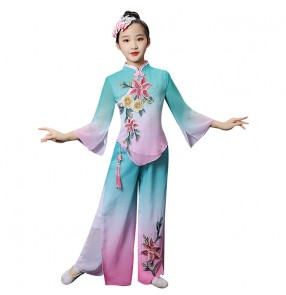 Children blue with pink Chinese traditional classical dance costumes Girls yangko costume kids umbrella dance fan dance performance costume