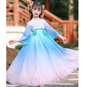 Children blue with pink color chinese Hanfu princess fairy dress for girls chinese ancient folk Costumes anime drama cosplay dress Tang suit stage performance kimono dress for kids
