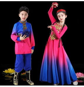 Children blue with pink color Xinjiang Dance Costume girls Chinese folk dance dresses Ethnic minority performance costumes Uyghur opening dance costumes
