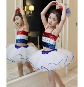 Children Blue with red jazz dance costumes flower girls pettiskirt Kindergarten jazz dance performance dress Girls sequined modern dance skirts