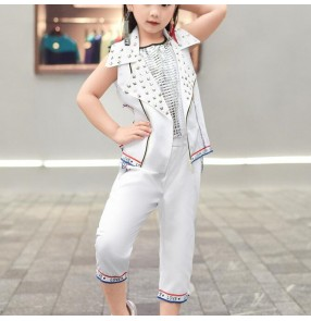 Children boy girls modern jazz street hip hop dance costumes stage performance show dance outfits 3 pieces sets