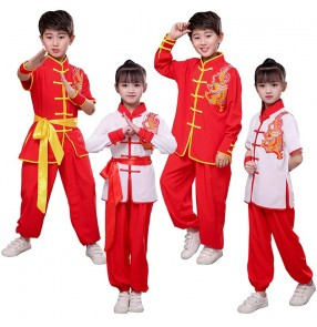 Children boy girls wushu clothing martial arts Taekwondo judo clothes Primary secondary school short-sleeved taichi kungfu competition performance costumes