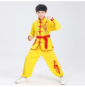 Children Boy gold dragon yellow red black Chinese kungfu Wushu stage performance clothing Tai Chi Clothes Stretch cotton Chinese martial arts competition suit