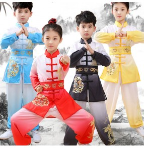Children boy red blue yellow Wushu martial arts performance clothing Taekwondo Judo Chinese Kung Fu Tai Chi Competition Costume for Boys Girls