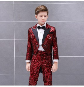 Children boy red leopard magcian singers chorus tuxedo suit and pants fashion conductor suit piano performance stage catwalk costume