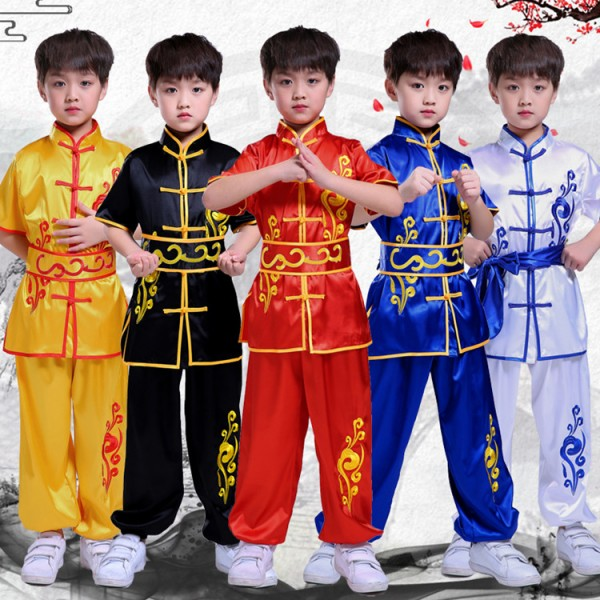 Children boys Chinese traditional wushu kungfu martial taichi uniforms  dragon embroiderer school training suits