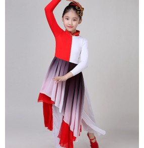 Children boys girls chinese folk dance costumes fan dresses traditional anicent kungfu drama cosplay dresses