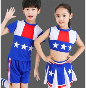 Children boys girls school performance cheerleaders costumes kids modern dance school uniforms cheerleaders dancing costumes
