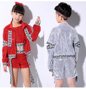 Children boys girls silver red sequin jazz dance costumes sequin street hiphop gogo dancers cheerkleaders stage performance tops and shorts
