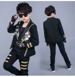 Children Boys jazz dance costumes Boys drum performance costume Model catwalk hip-hop sequin jacket pants photos shooting  gogo dancers outfits